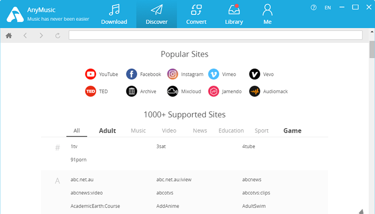 Over 1000 supported sites