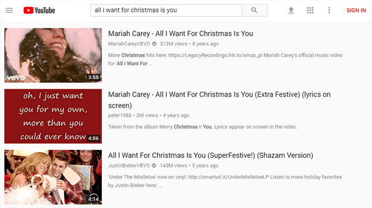 Search Christmas song on YouTube