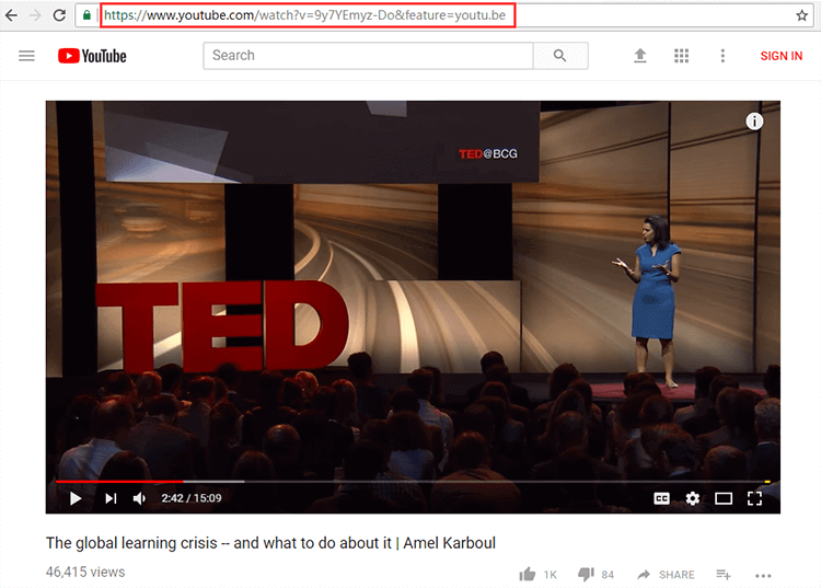 Copy link of the TED talk video