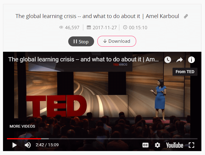 Play TED video