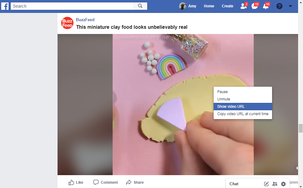 show video URL of Facebook video
