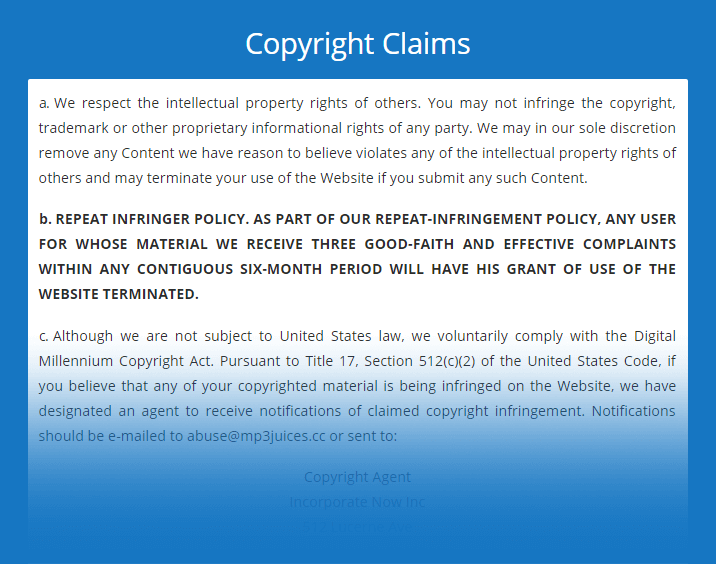 mp3juice copyright claims