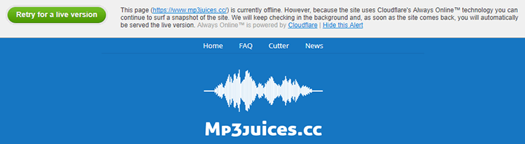 MP3Juices shutdown page