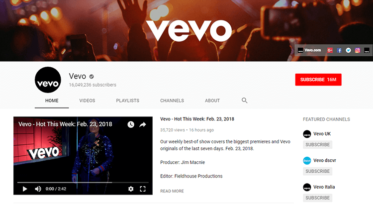 YouTube Vevo channel