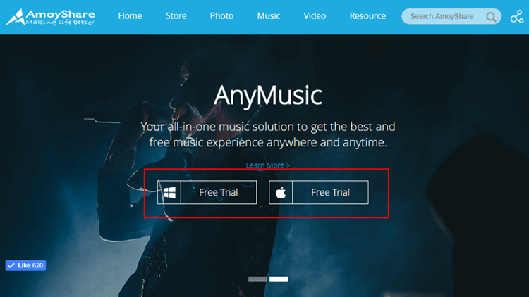 homepage of anymusic