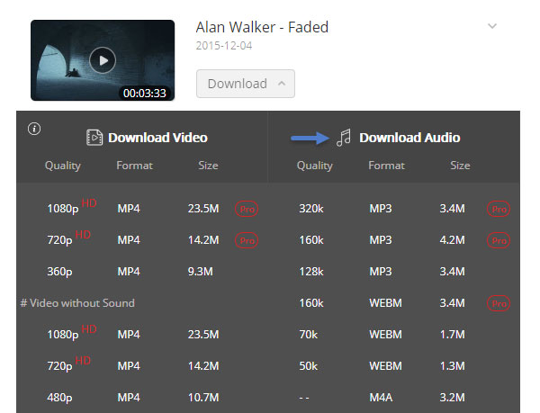 Rip Alan Walker's Faded to MP3