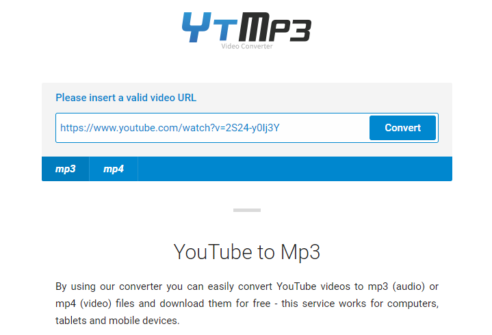 paste URL to Ytmp3 cc
