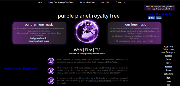 Purple Planet  Royalty Free Music