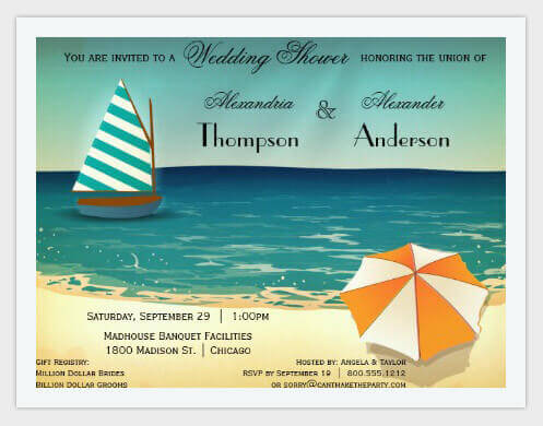 retro beach scene wedding shower invitation pic7