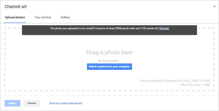 The latest social media image sizes youtube popup