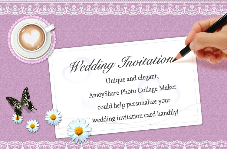 How to create wedding invitation card amoyshare photo collage maker wedding invitation card stopboris Gallery
