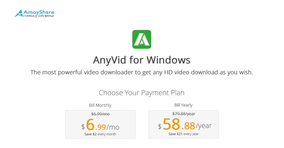 Buy AnyVid for Windows   AmoyShare