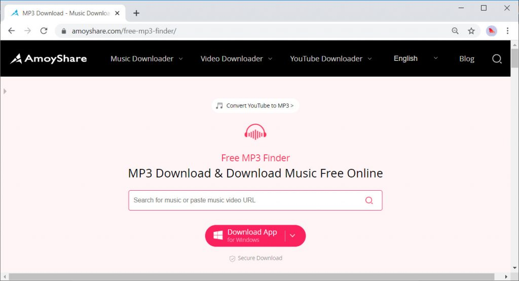 AmoyShare Free MP3 Finder-Oberfläche