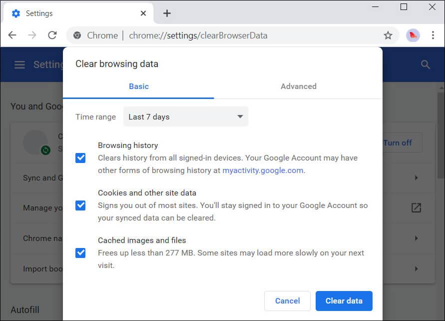 بيانات تصفح Chrome واضحة