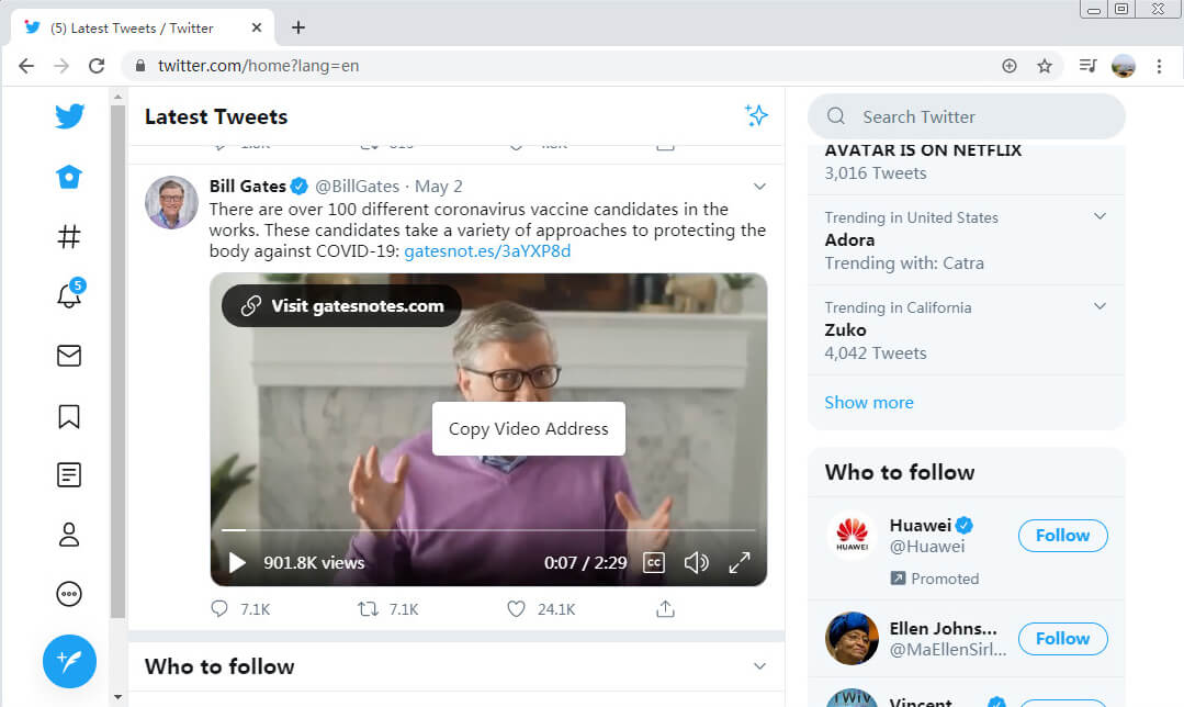 انسخ عنوان فيديو Twitter على الكمبيوتر