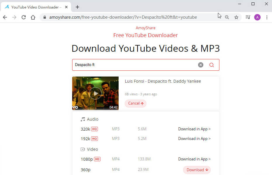 Suchen Sie im Downloader nach YouTube-Videos