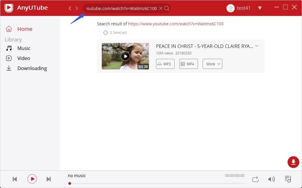 Incolla l'URL di YouTube per la ricerca