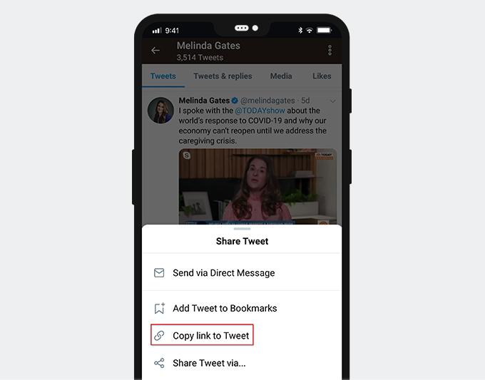 Copy link to Tweet on mobile