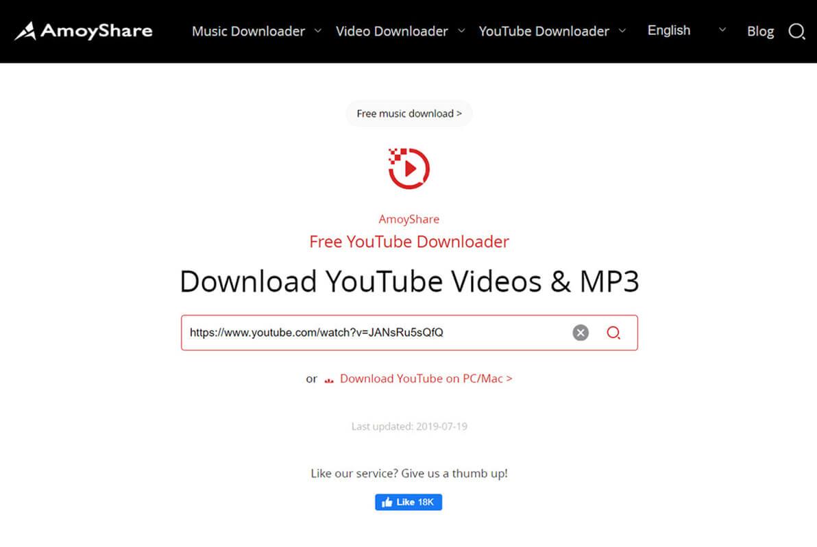 Fügen Sie den Link in Free YouTube Downloader ein
