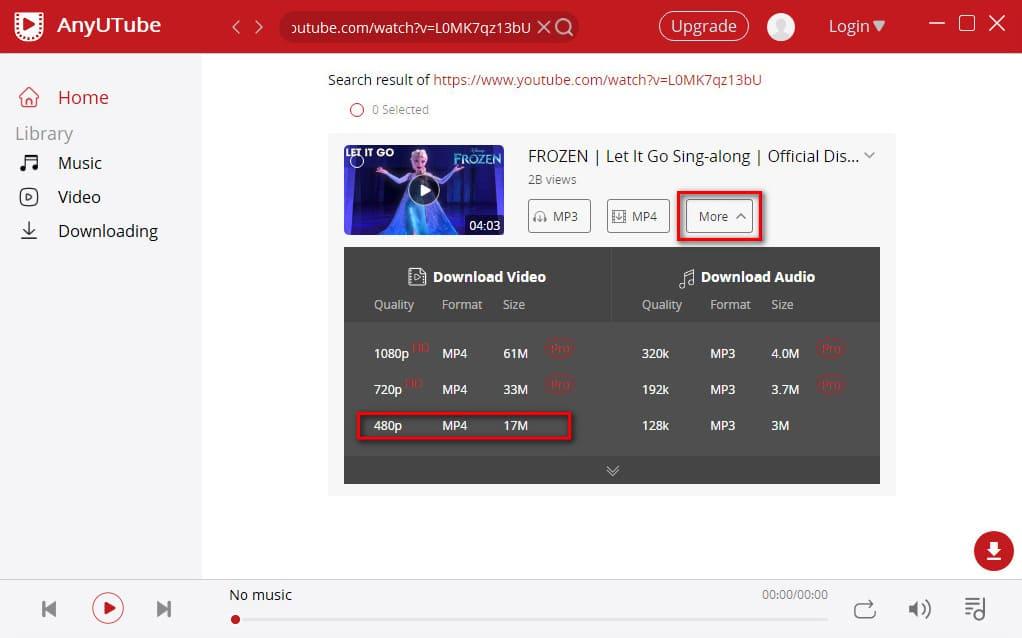 Wählen Sie das Video und das gewünschte Format aus
