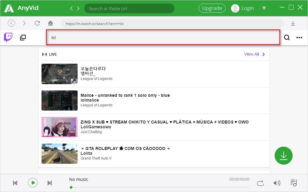 البحث عن الفيديو AnyVid Twitch