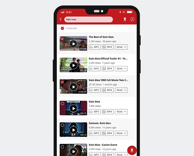 معاينة مقاطع الفيديو أو تحديد مقاطع الفيديو ثم التنزيل