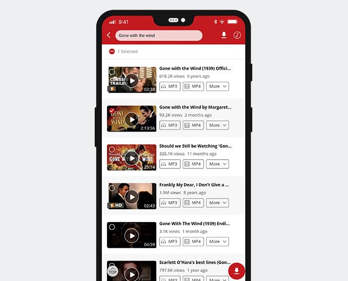 Vorschau von Videos oder Auswahl von Videos, dann herunterladen