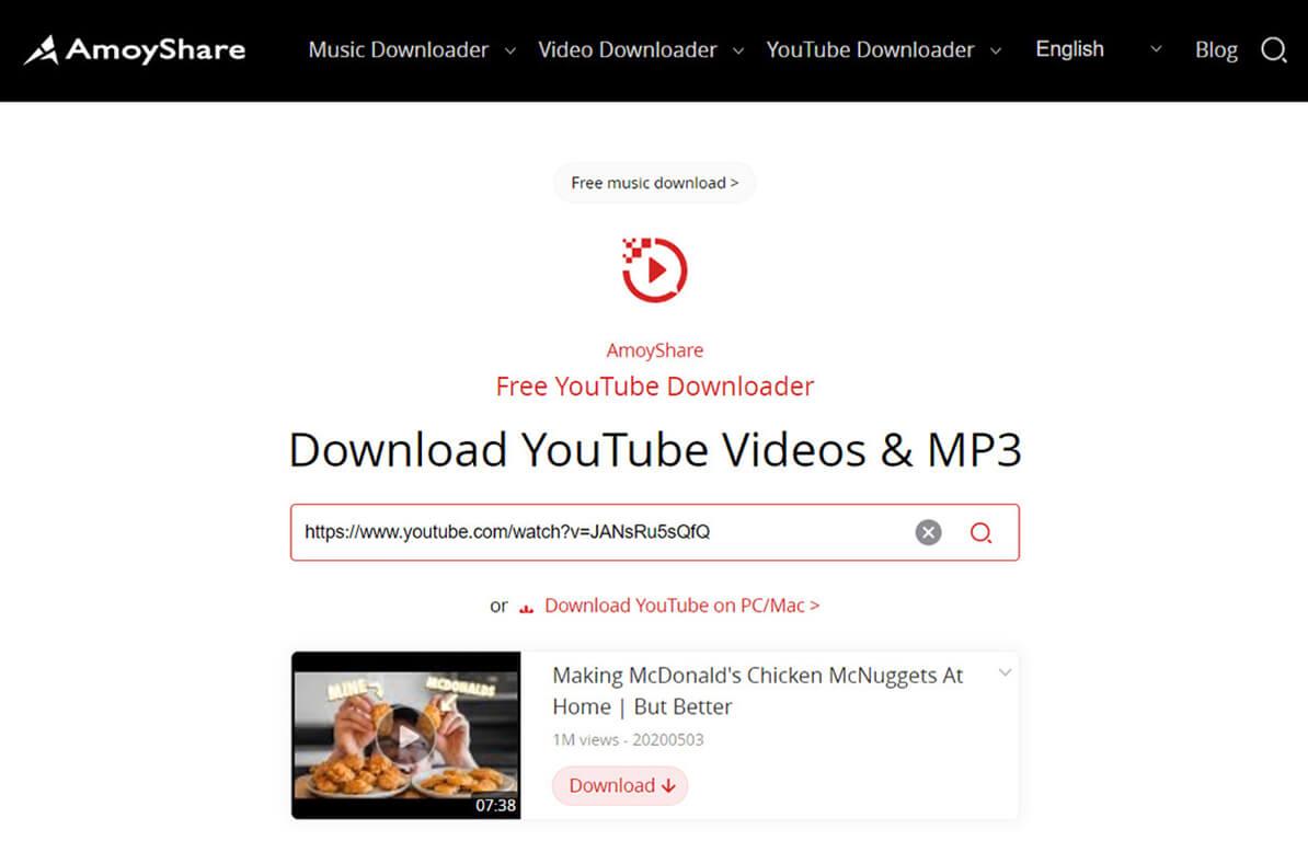 Suche Video im kostenlosen YouTube Downloader