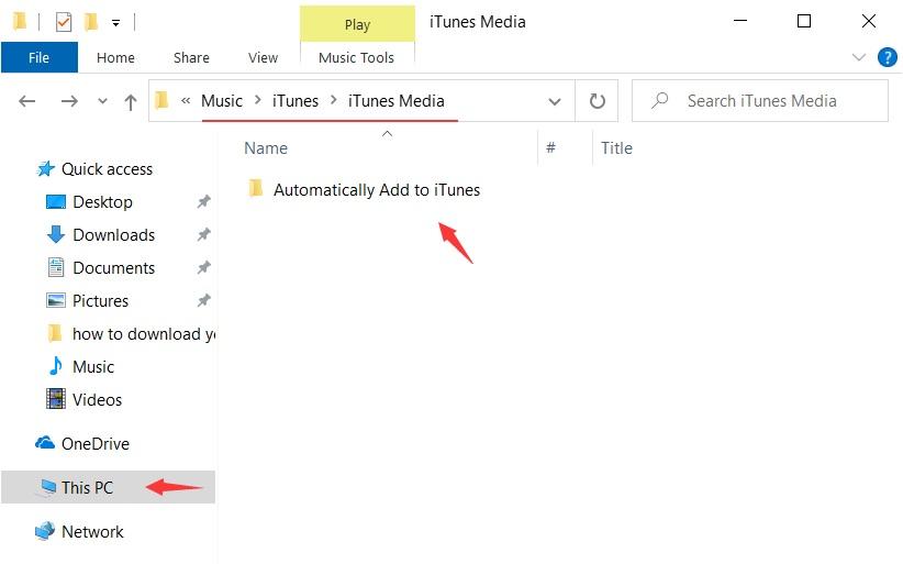 تم لصق الملف الذي تم تنزيله لإضافته تلقائيًا إلى iTunes