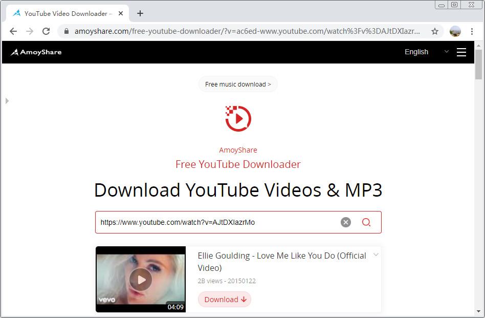 URL der YouTube-Musik einfügen