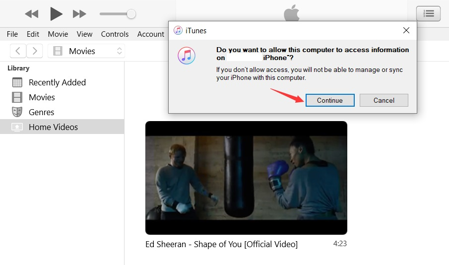 iTunes connected to iPhone on PC