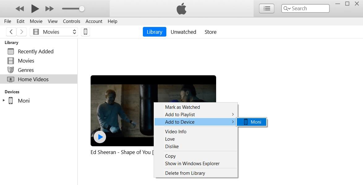 إضافة iTunes إلى الجهاز