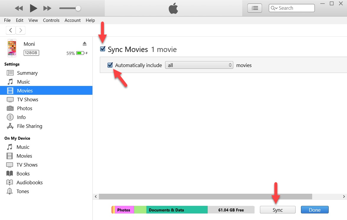 مزامنة الأفلام على iTunes
