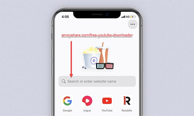 AmoyShare free YouTube downloader URL entered on Documents
