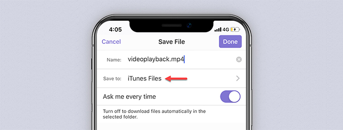 Save file interface of Documents by Readdle