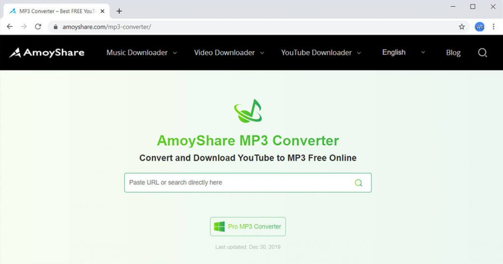 AmoyShare Interfaccia convertitore YouTube gratuita