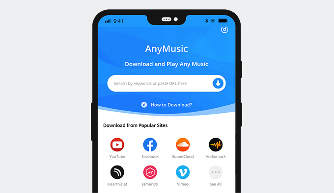 AnyMusic على الهاتف المحمول