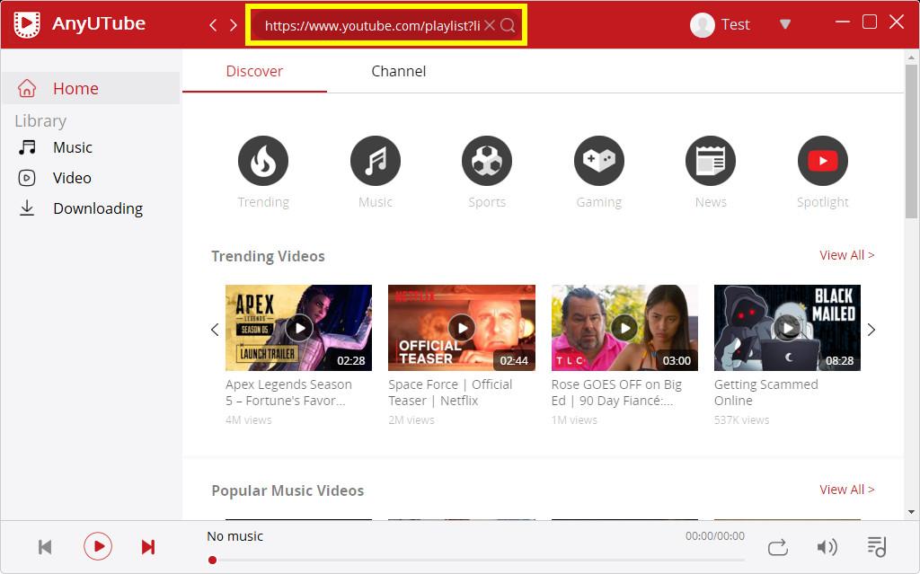 لصق رابط قائمة تشغيل YouTube على AnyUTube