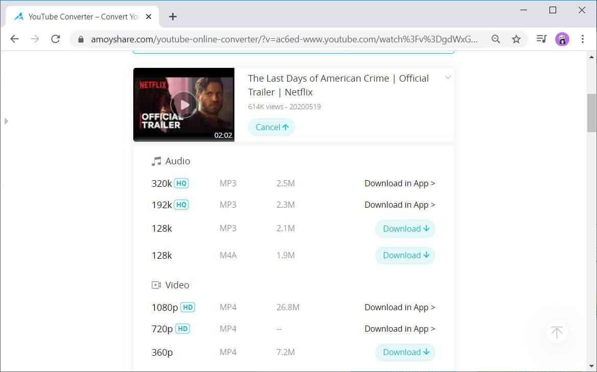 AmoyShare Free YouTube Converter video conversion