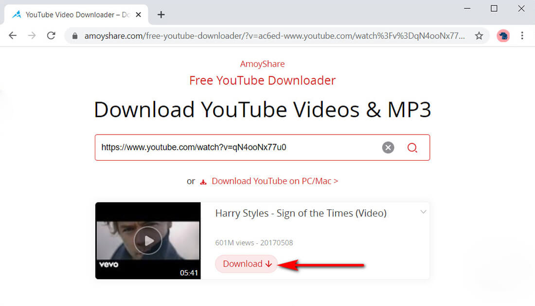 AmoyShare Free YouTube Downloader video file parsing