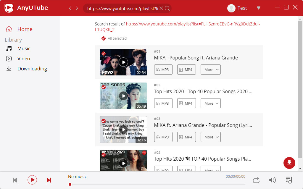 AnyUTube YouTube Playlist herunterladen