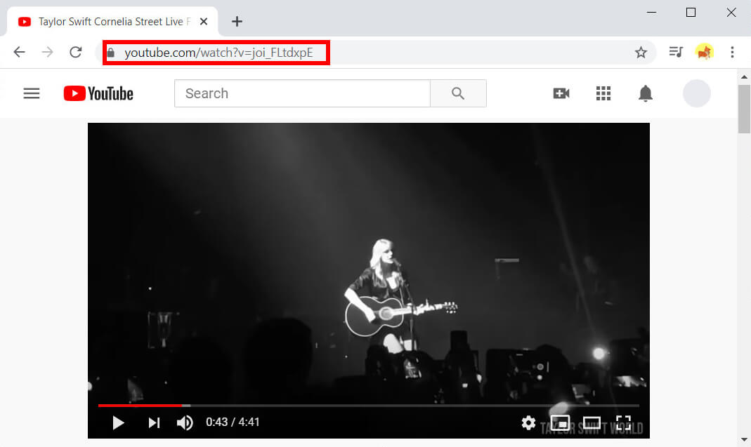 Copia il link del video da YouTube