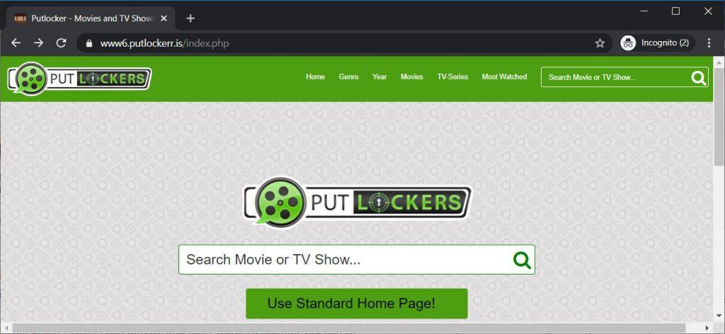 Homepage di Putlocker