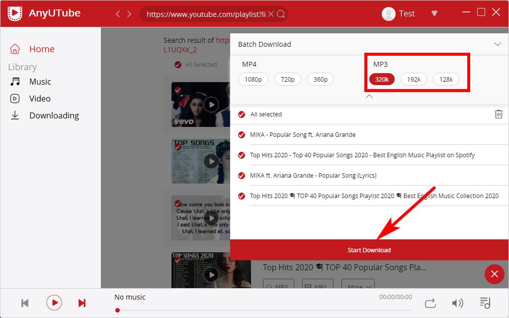 Auswahl der YouTube-Wiedergabelistenformate von AnyUTube