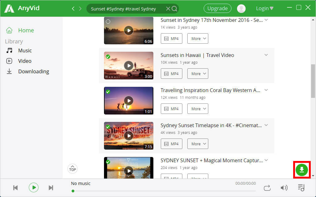 Seleziona diversi video per il download in batch