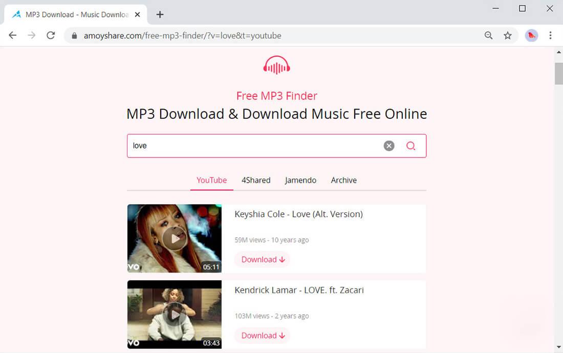 AmoyShareFree MP3 Finder Hi-Res-Audiosuche