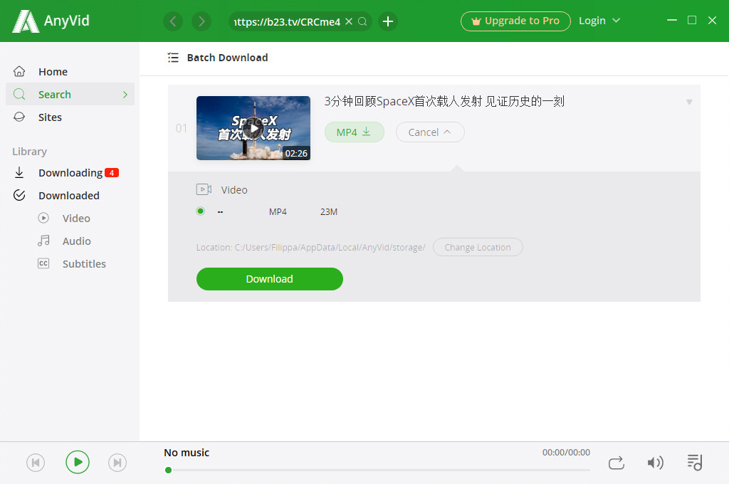 Download Bilibili video with AnyVid