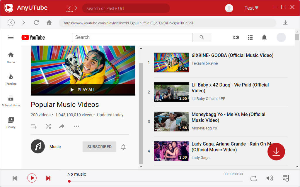 Accesso a YouTube tramite AnyUTube