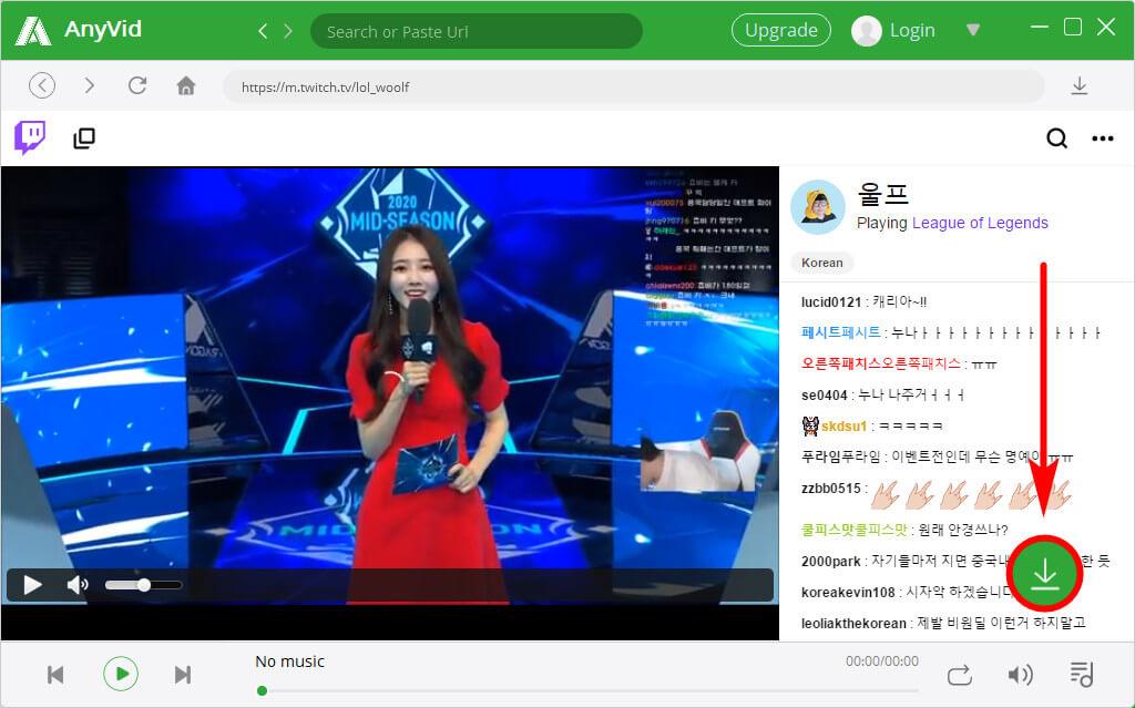 AnyVid - Spielewettbewerb auf Twitch Seite