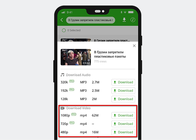 AnyVid-Download-Oberfläche